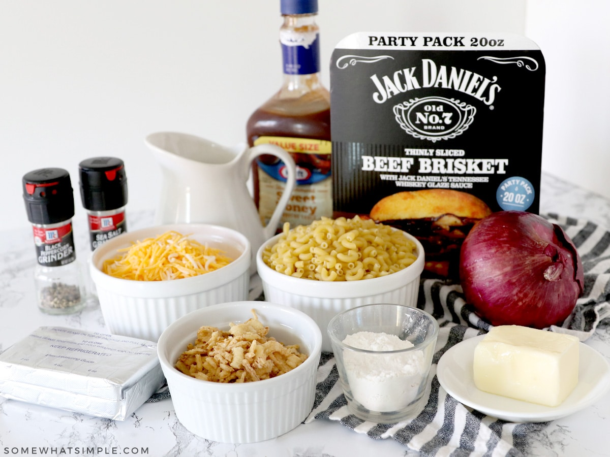 ingredients for mac and cheese on a counter