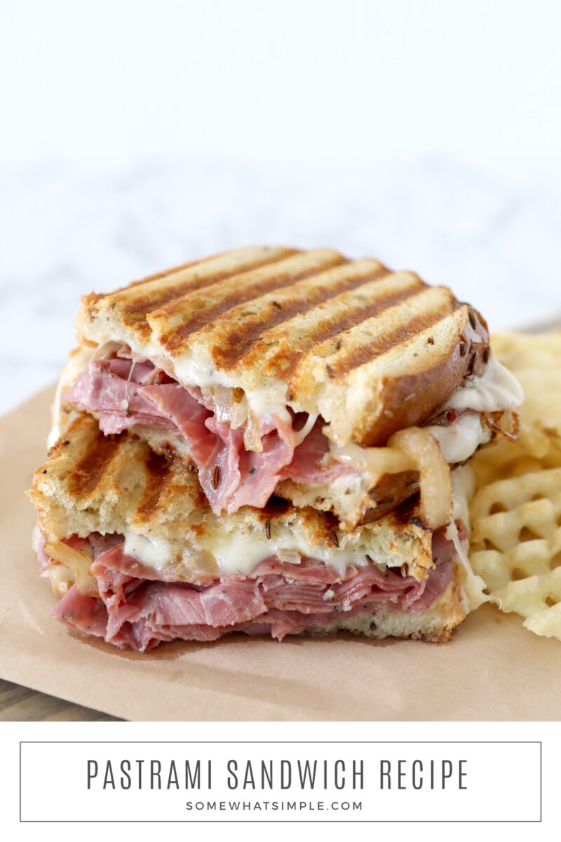 baked pastrami sandwich with fries