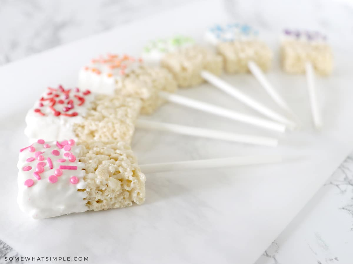 rice krispie treats on a stick paid out in rainbow order