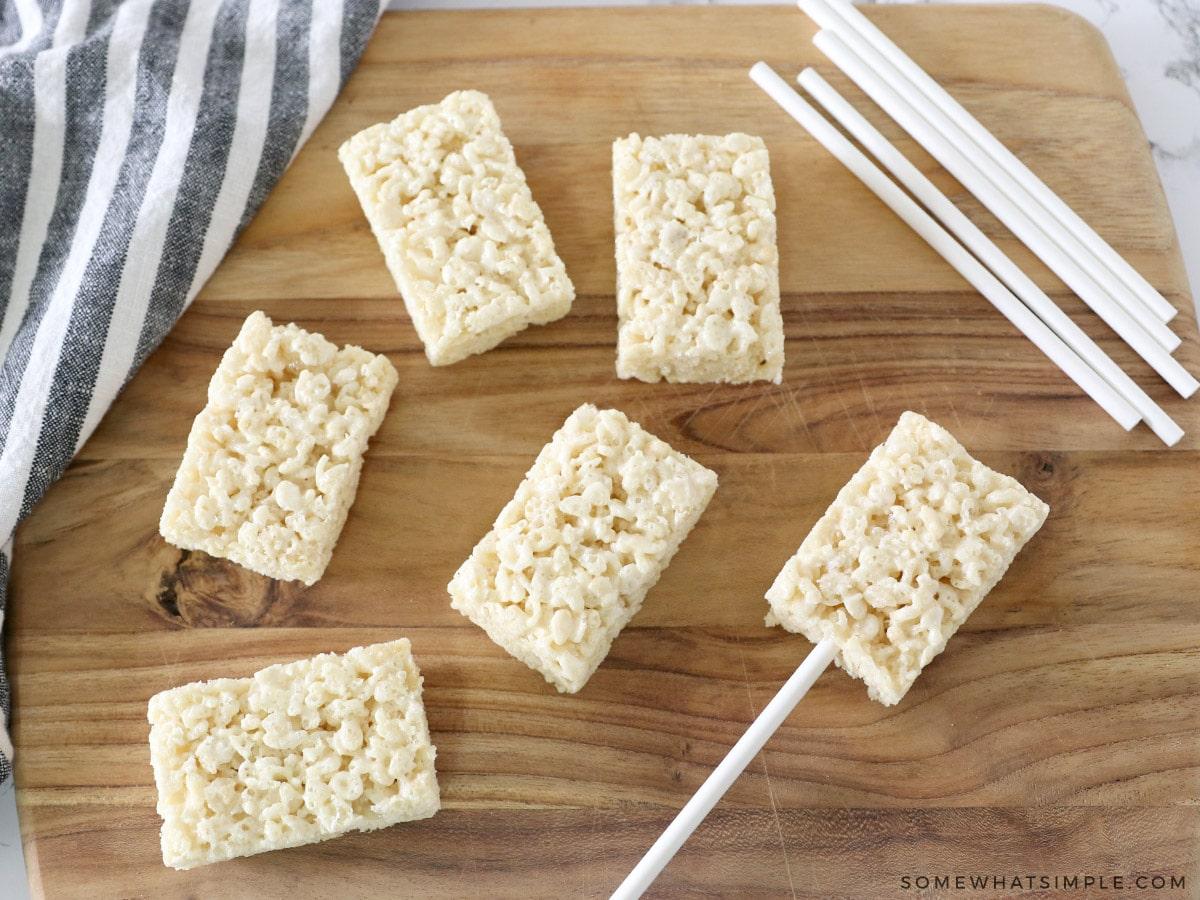 adding stick to rice krispie treats