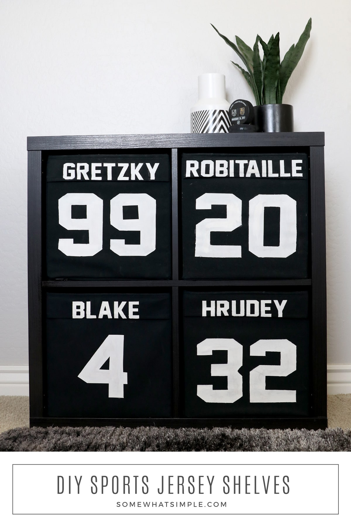 A fun addition to a child's sport's bedroom - this simple DIY Jersey Shelf project hides their clutter and looks great! via @somewhatsimple