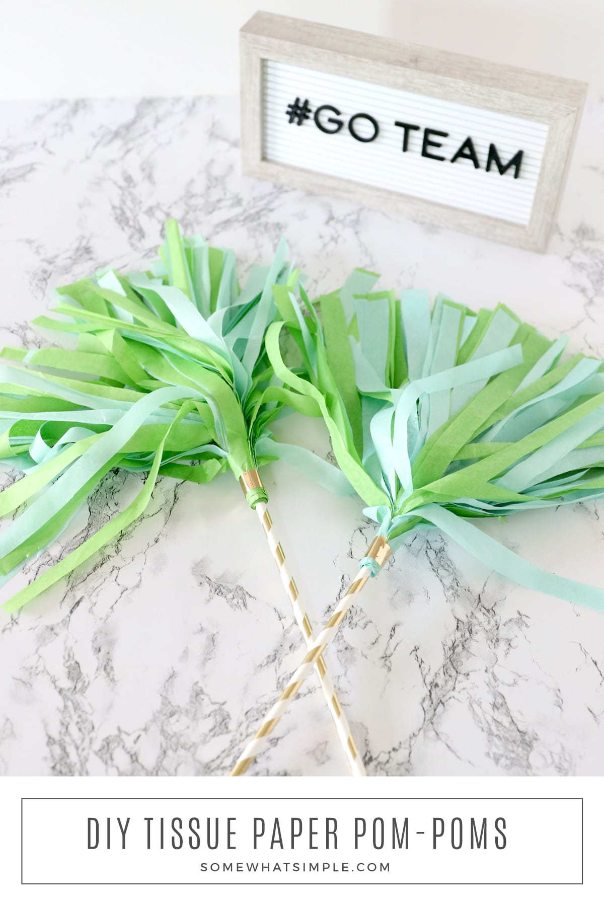 Pro, college, or peewee football - get the kids cheering and showing off their team spirit by making these simple tissue paper pom poms! via @somewhatsimple