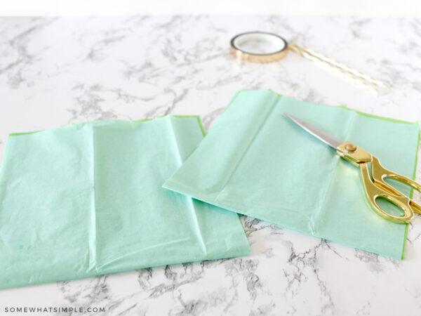 cutting tissue paper in half