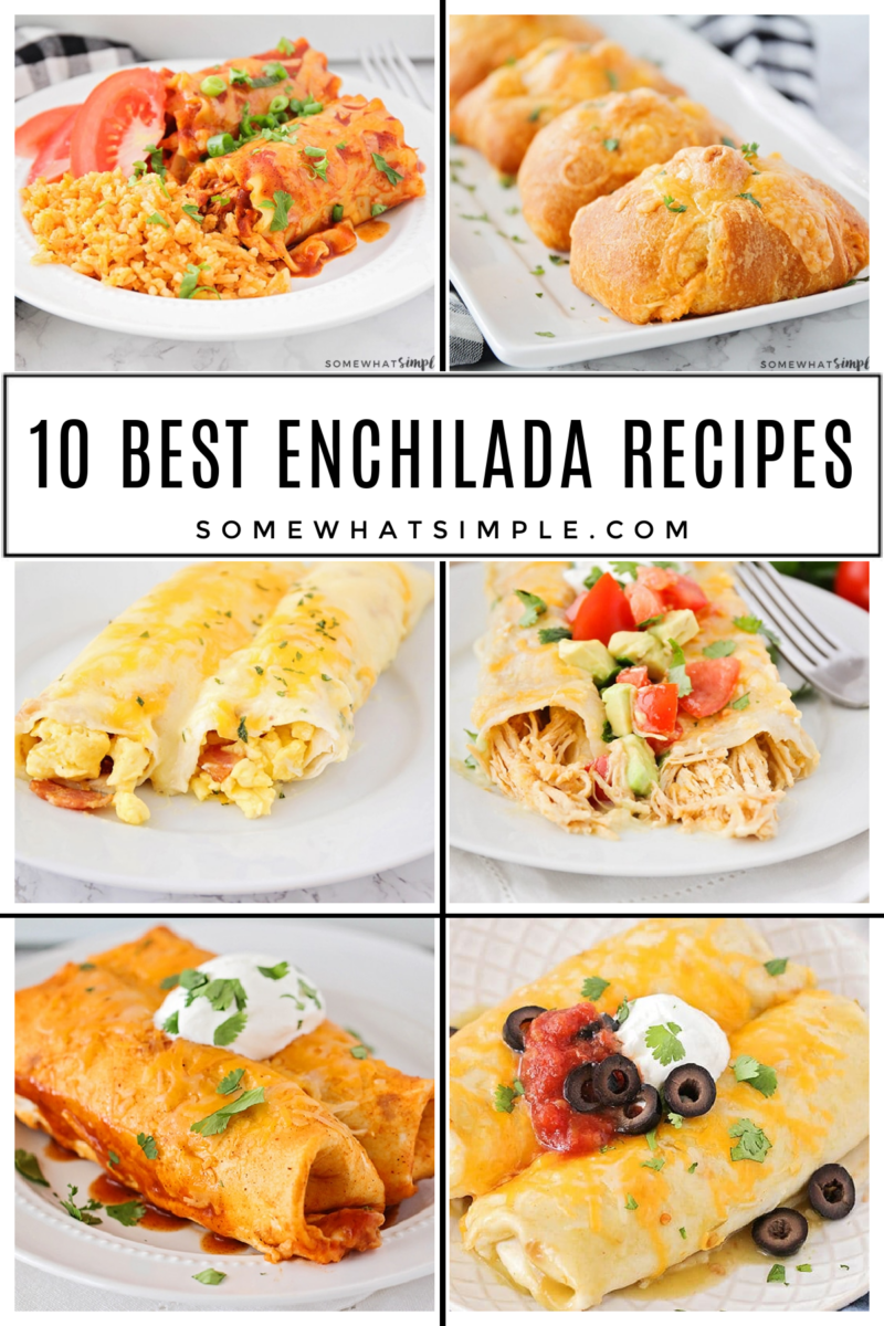collage of 6 different enchilada recipes