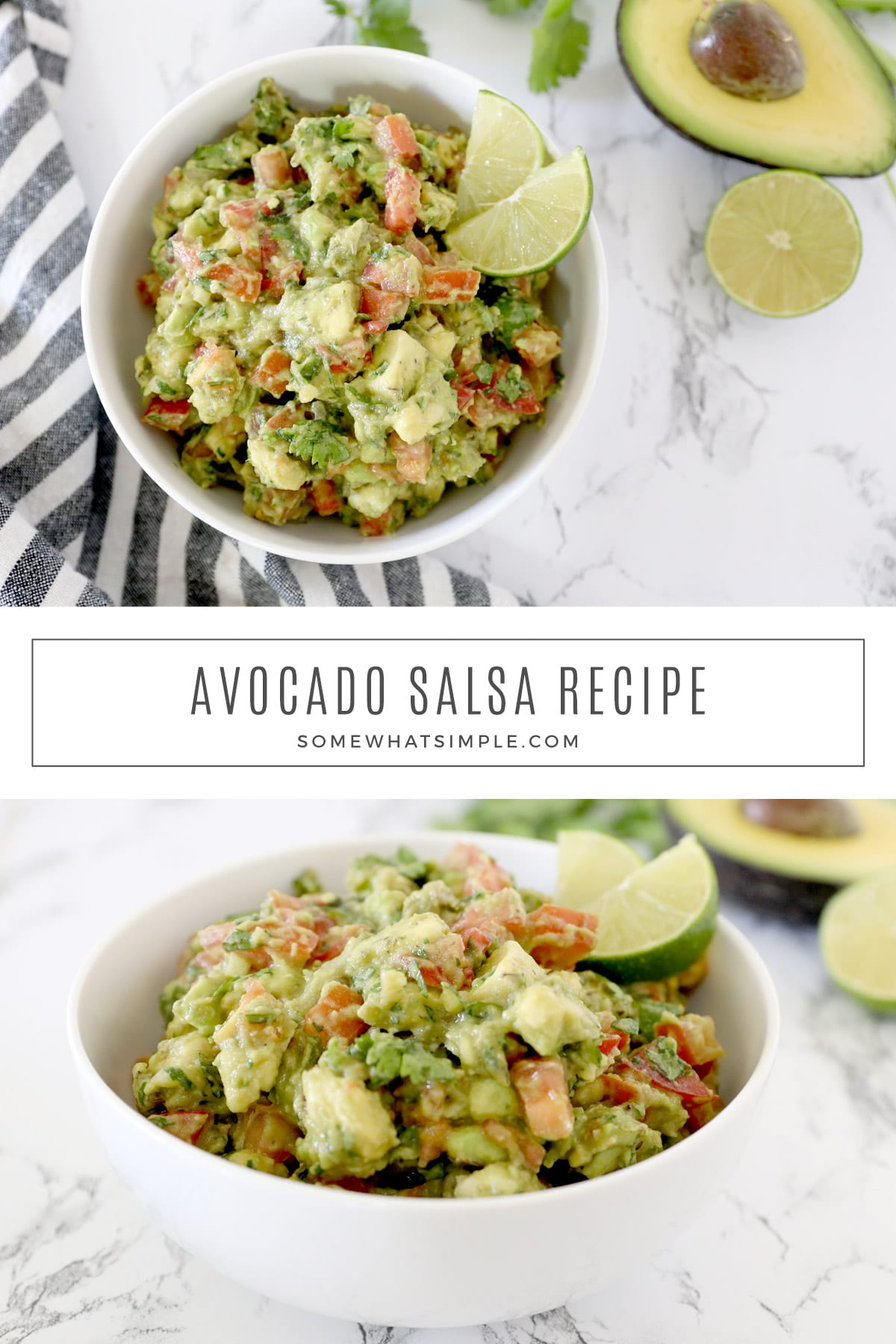 Made with fresh avocados, tomatoes, onions, and cilantro, this Avocado Salsa recipe tastes amazing and could not be any easier to make! via @somewhatsimple
