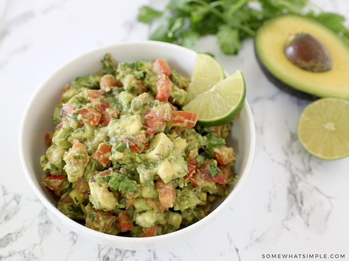avocado salsa in a white bowl