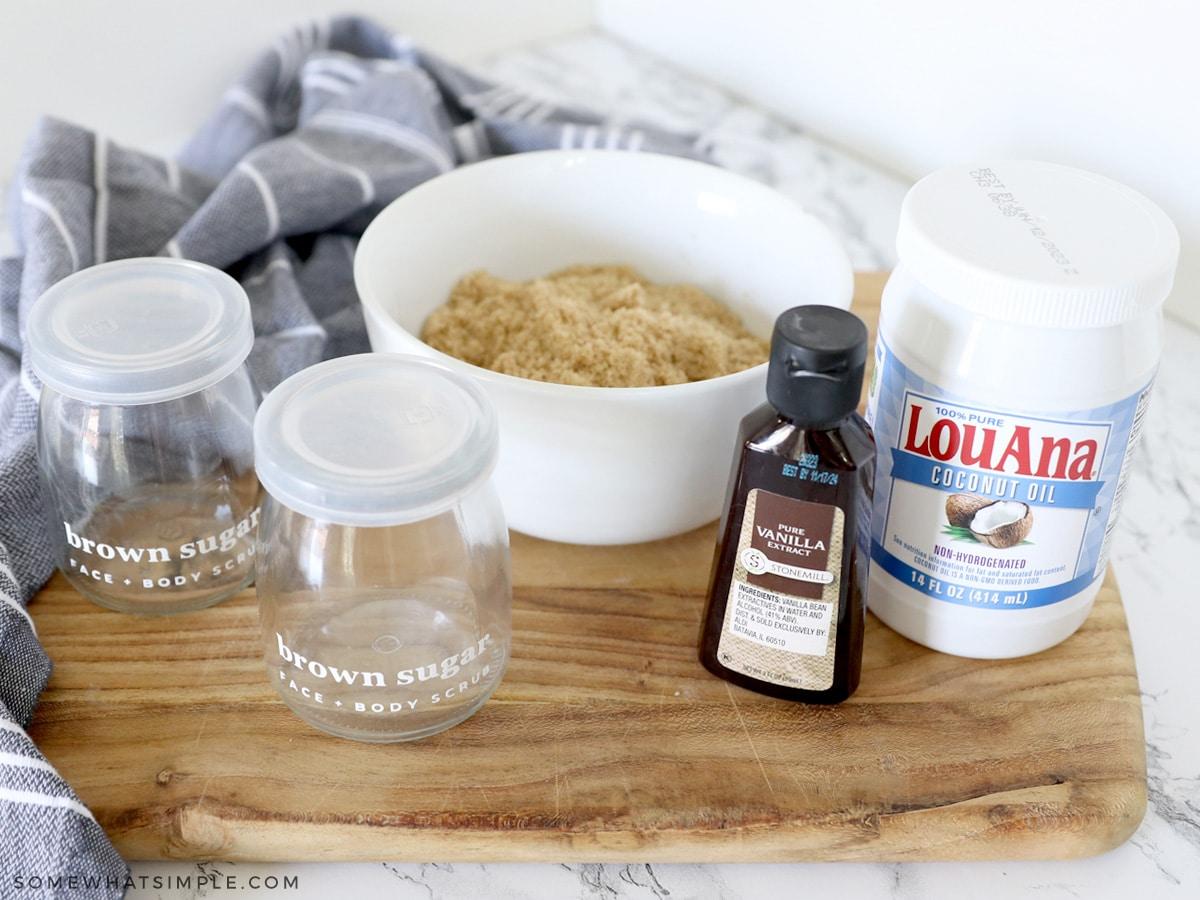 ingredients to make homemade sugar scrub