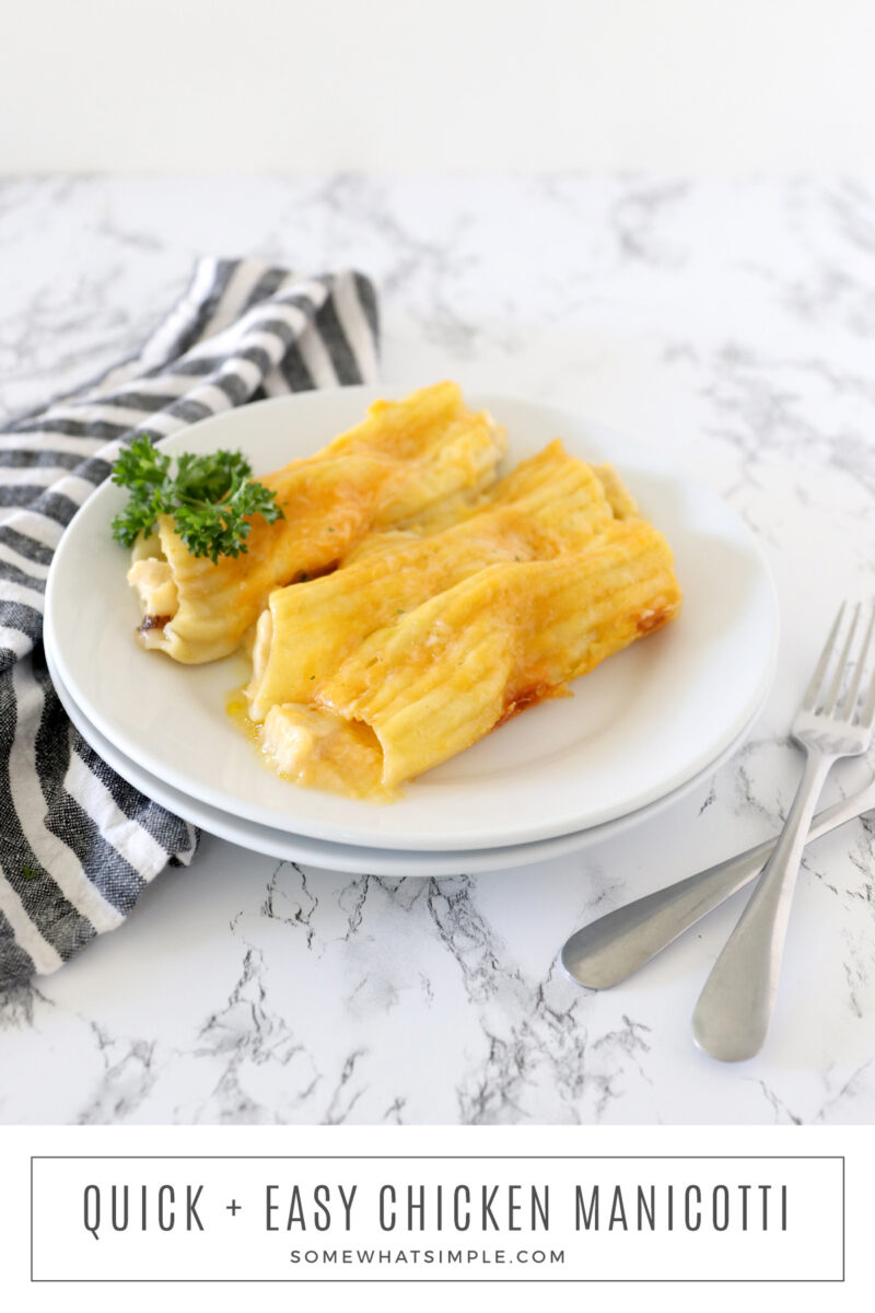 long image of chicken manicotti