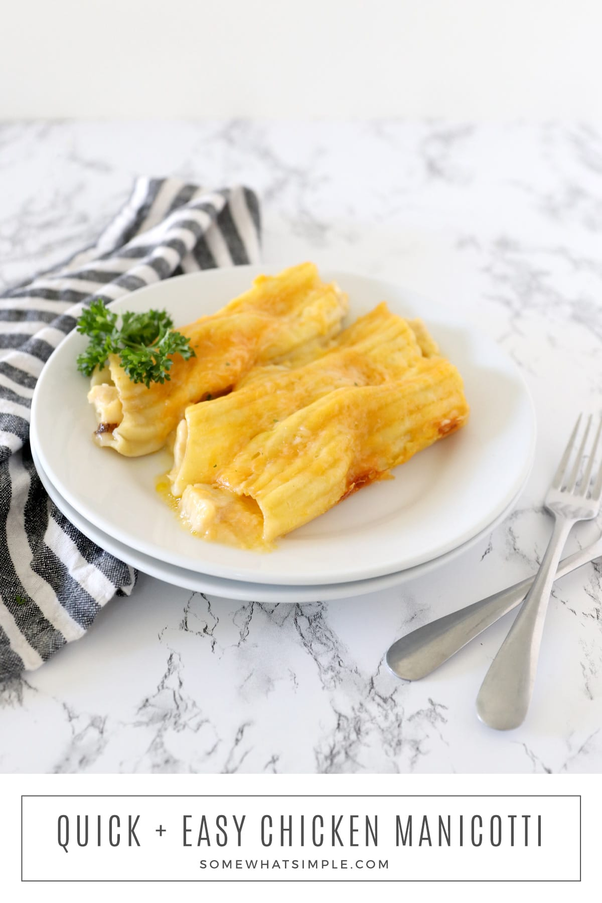 This Shortcut Chicken Manicotti recipe is a simple way to prepare a delicious Italian dish! via @somewhatsimple