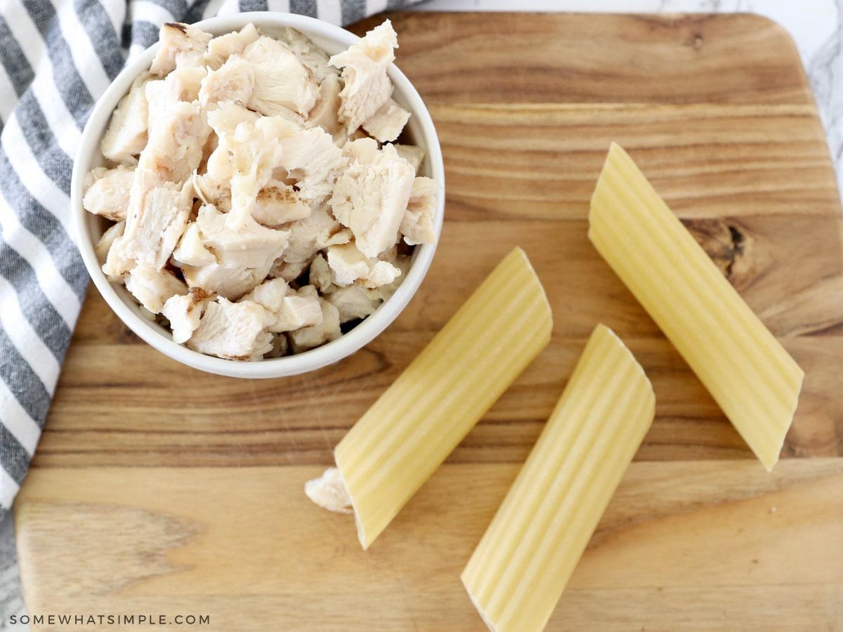 stuffing manicotti shells with chicken
