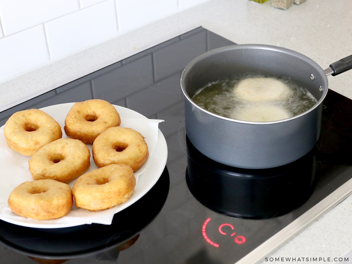 frying donuts on the stove