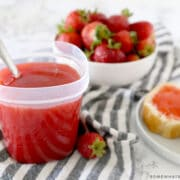 strawberry freezer jam with berries and bread
