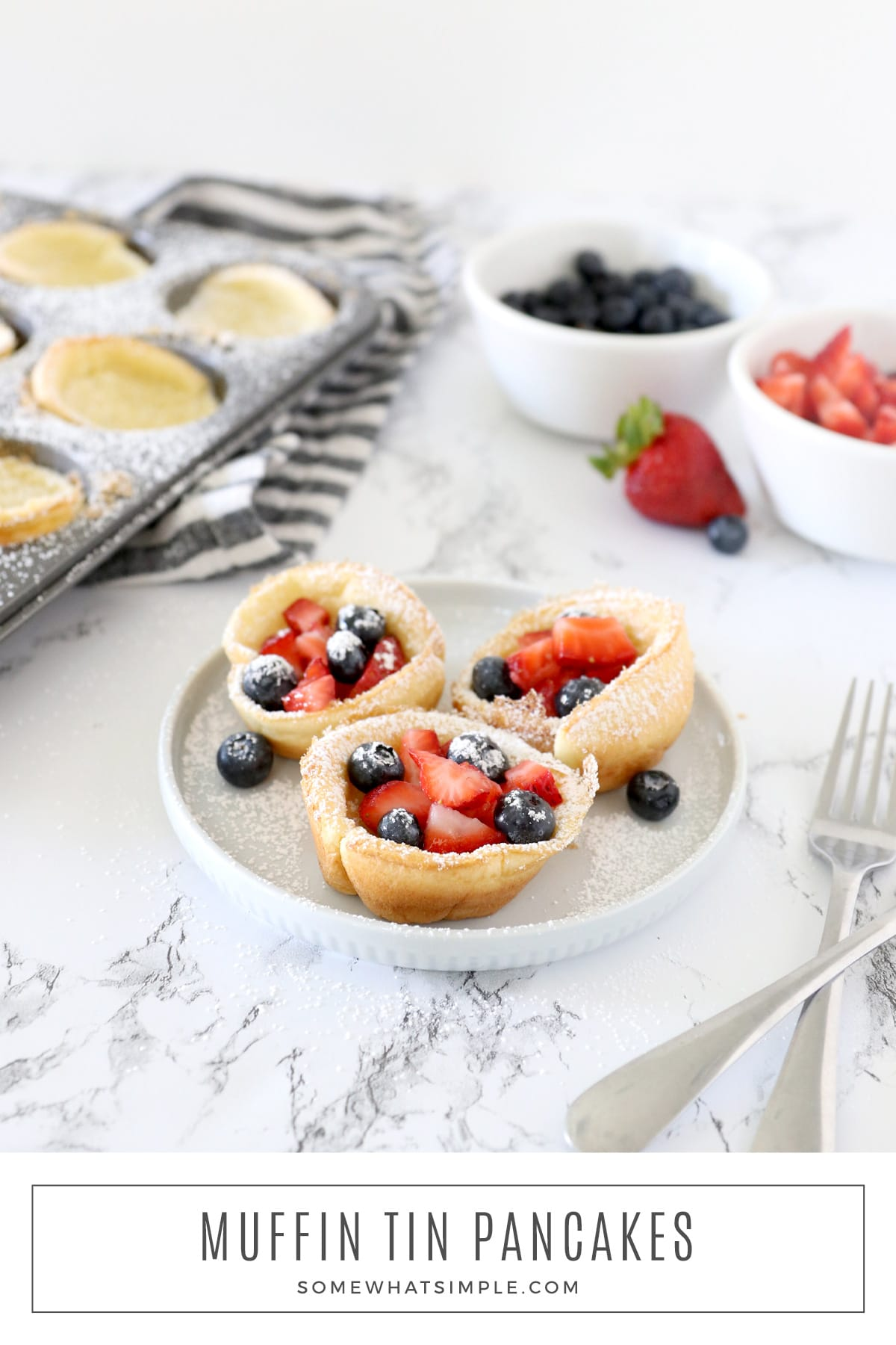 Baked in muffin tins, these Pancake Popovers make a tiny version of your favorite German pancakes or Yorkshire Pudding. They are simple to make and totally delicious! via @somewhatsimple
