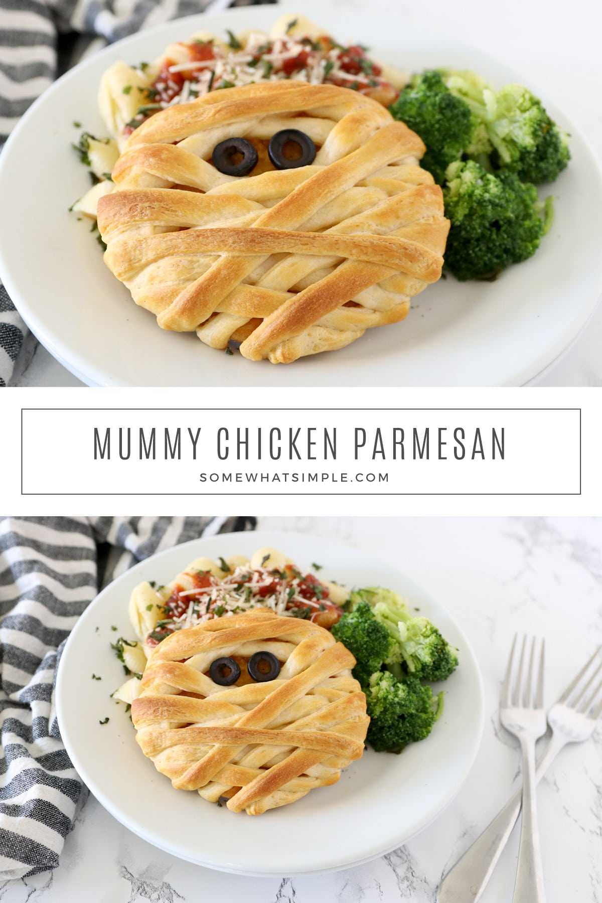 Mummy Chicken Parmesan is a simple Halloween dinner your kids will love! Made with 3 ingredients and ready in 20 minutes, it's festive, fun, and tasty too! via @somewhatsimple