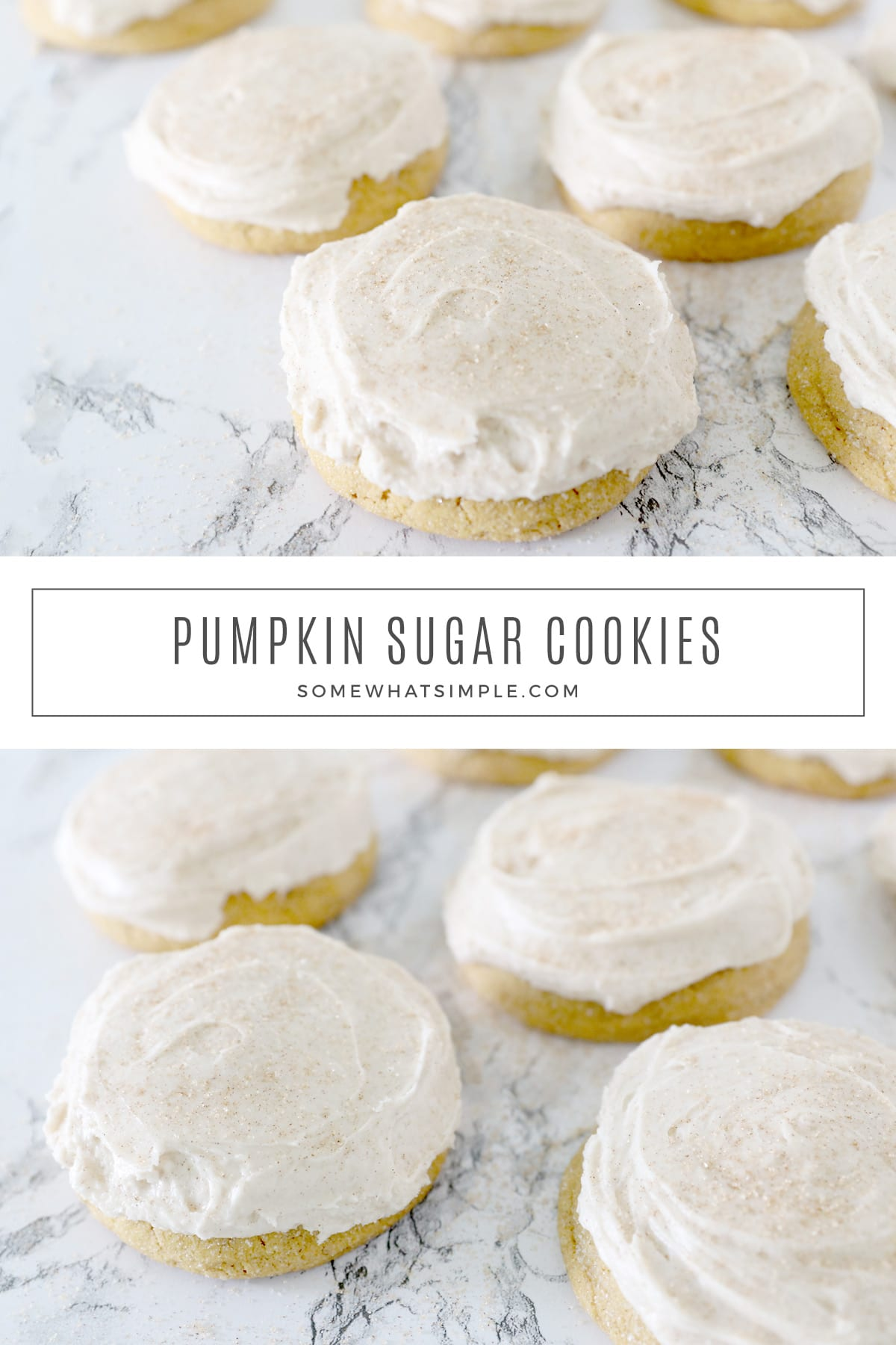 Deliciously soft Pumpkin Sugar Cookies are easy to make and taste amazing! Full of your favorite pumpkin spice flavors, these cookies are bound to become a fall family favorite! via @somewhatsimple
