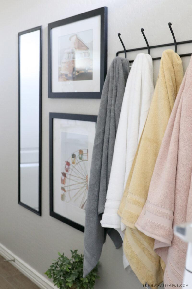 towel rack in kids bathroom
