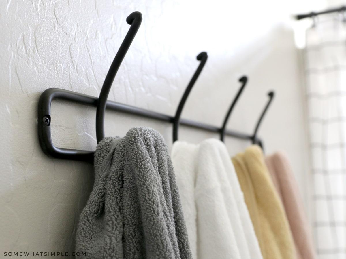 kids bathroom towel hook with colorful towels