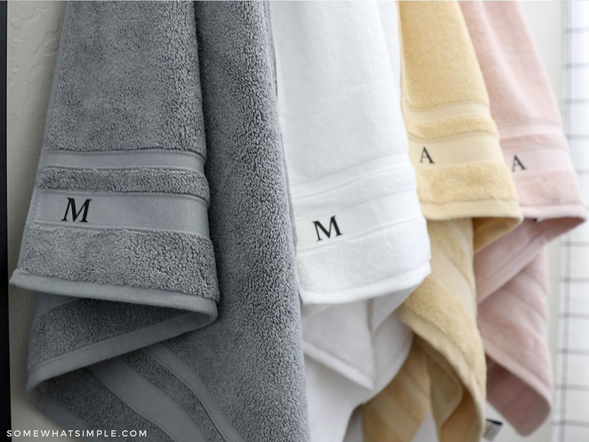 monogrammed towels in a kids bathroom