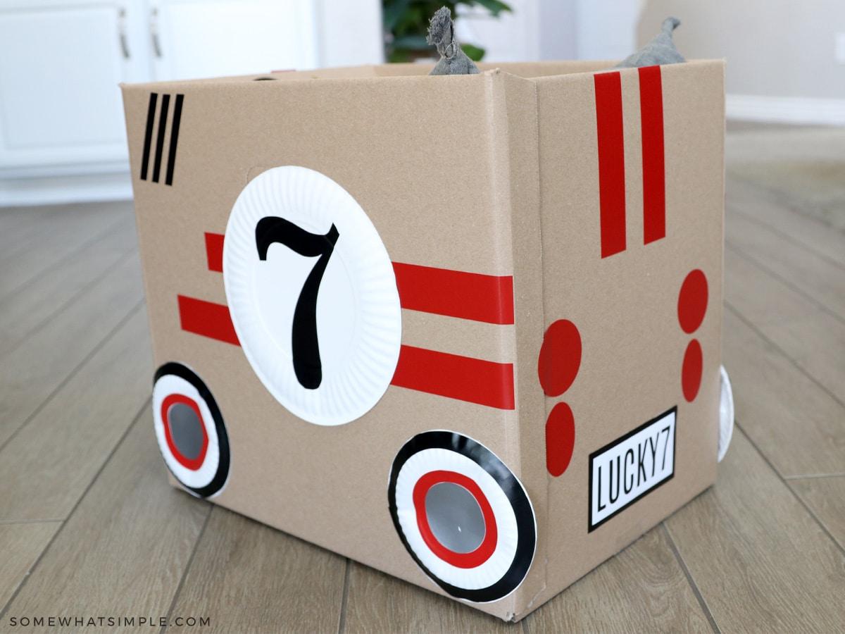 cardboard racing car for family movie night