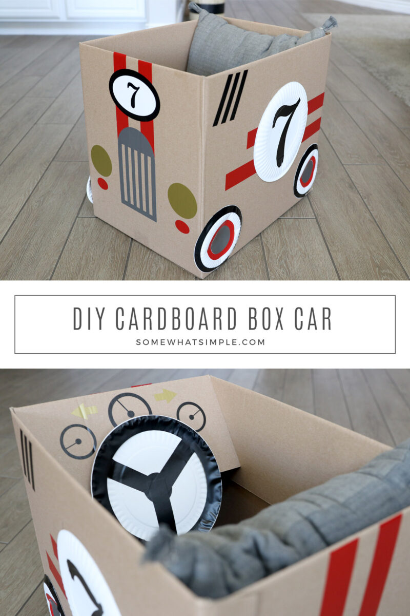 collage of cardboard race cars