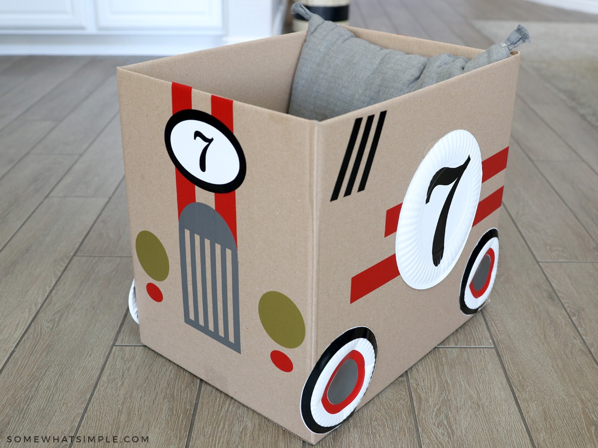 making a cardboard car for family movie night