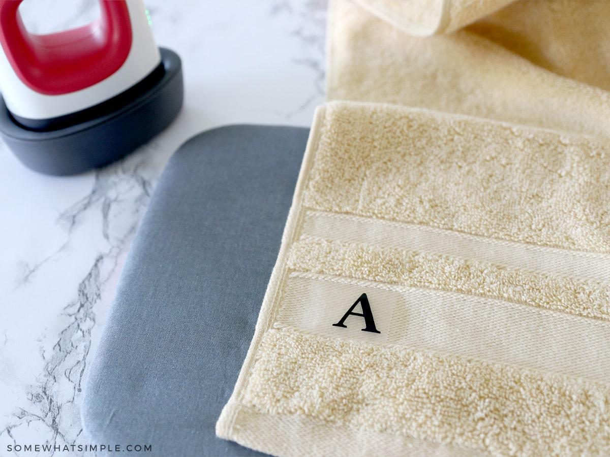 adding a monogram to a towel