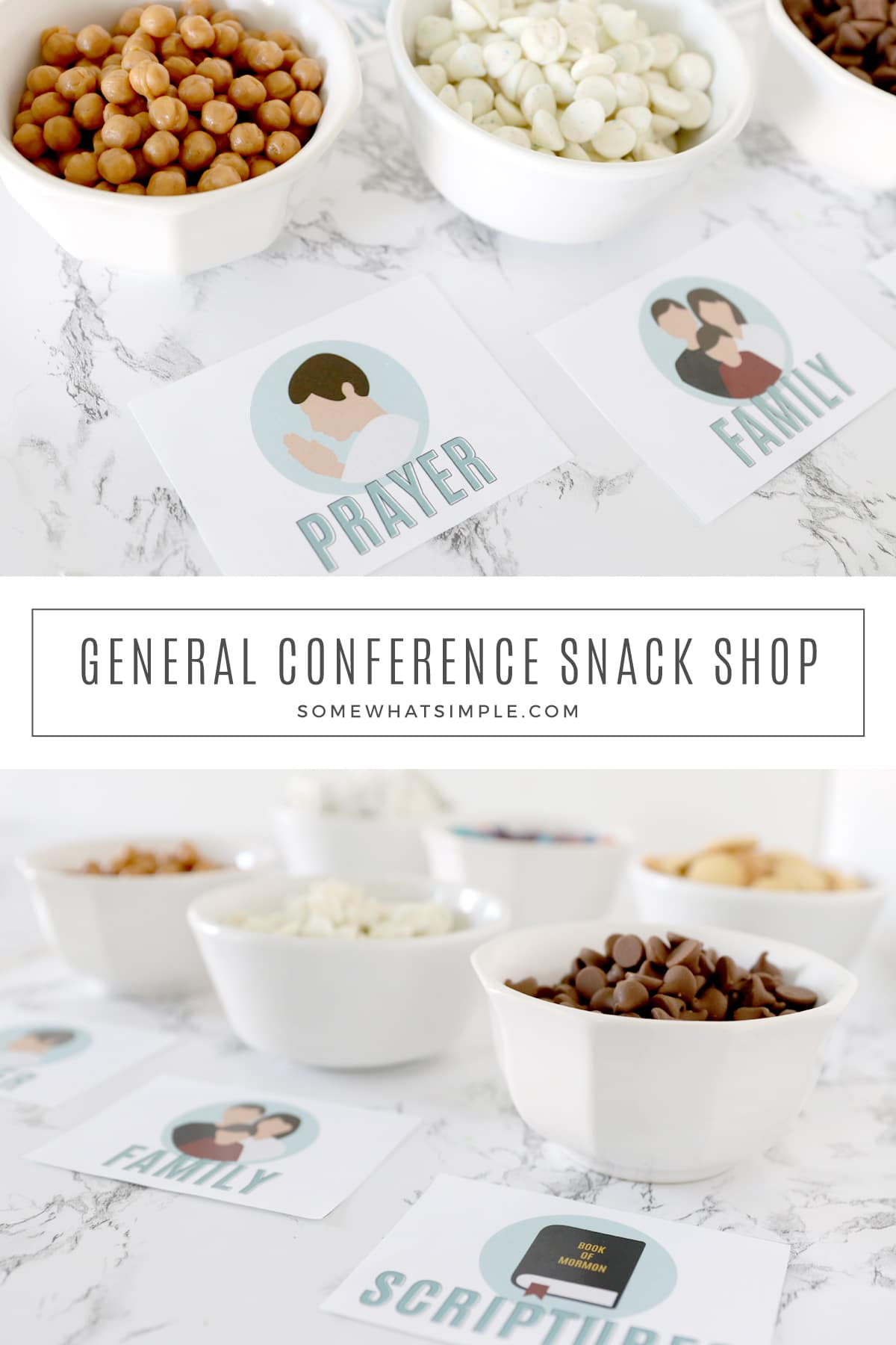 """AGeneral Conference Snack Shop is a fun way to keep the kids interested in General Conference. Download our free printables and get ready to """"feast"""" upon the word! via @somewhatsimple"""