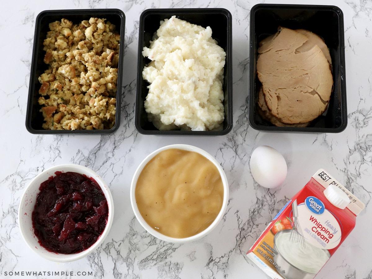Ingredients to make stuffing waffles