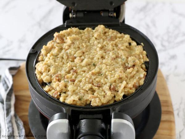 stuffing mixture on a waffle iron