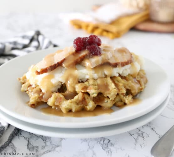 stuffing waffles on a white plate