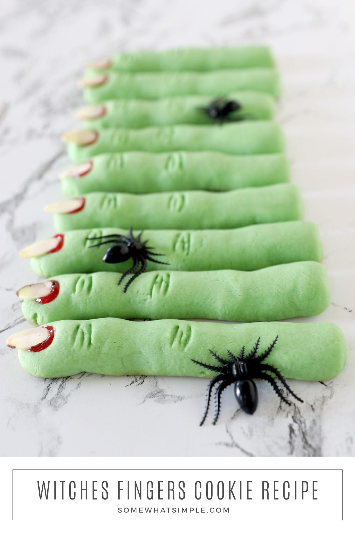 Witch Finger Cookies are made with a buttery shortbread dough that melts in your mouth and tastes amazing! How can something look this spooky but taste so good? via @somewhatsimple