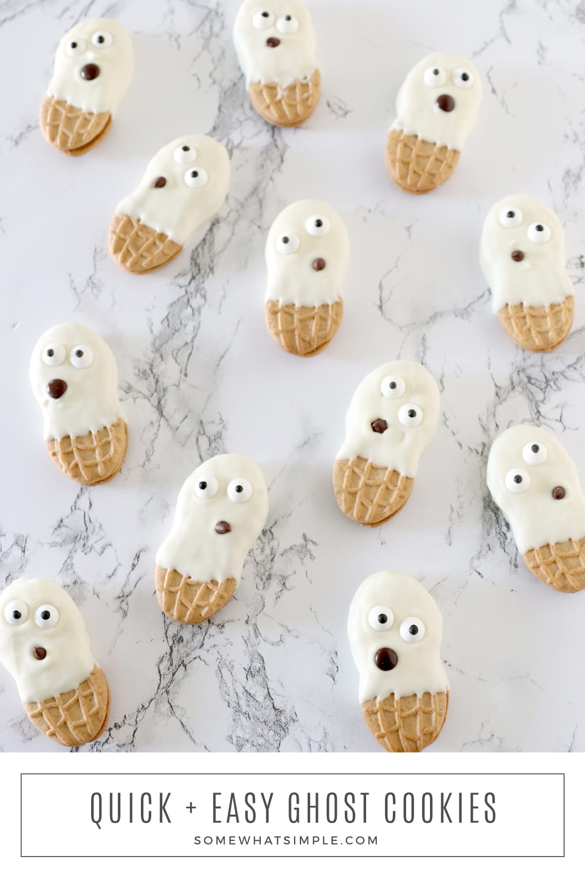 These simple ghost cookies are the perfect Halloween treat to make with the kids! They're made with only 3 ingredients and require almost no prep to pull together. via @somewhatsimple