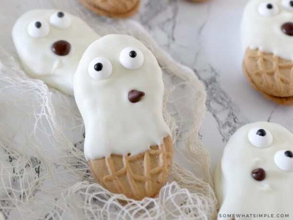 close up of a ghost made from a nutter butter cookie