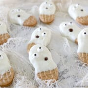 ghost cookies on a counter