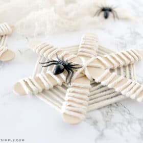 spider webs made from popsicle sticks and yarn