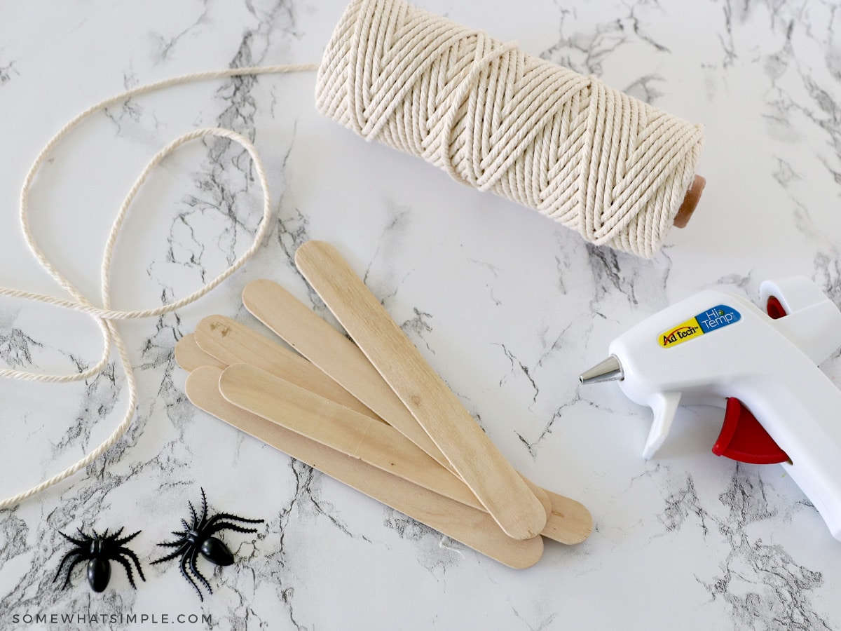 supplies needed for popsicle stick spider webs
