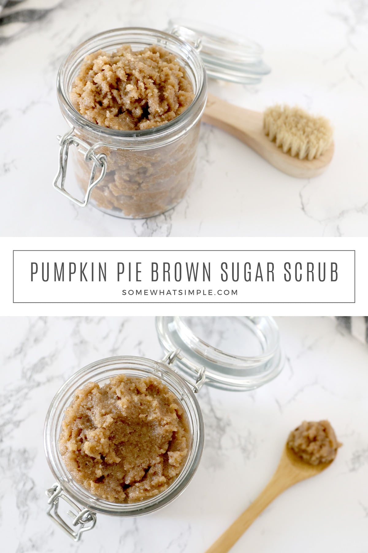 Pumpkin Spice Sugar Scrub is simple to make and smells delicious! It leaves your skin feeling silky smooth, and makes a great holiday gift idea! via @somewhatsimple