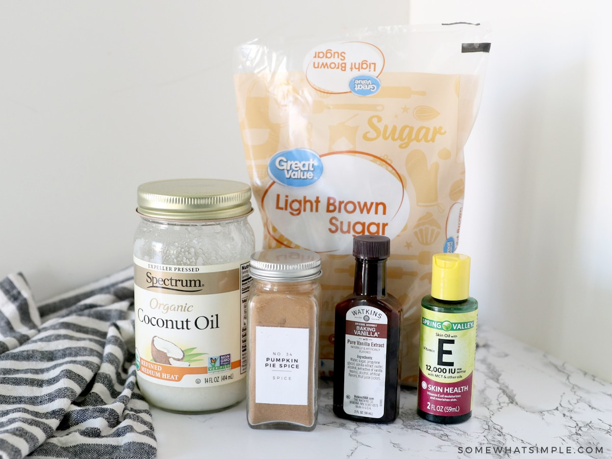 ingredients for pumpkin spice sugar scrub